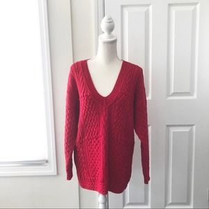 Express Tricot Vintage Cable Handknit V Sweater M